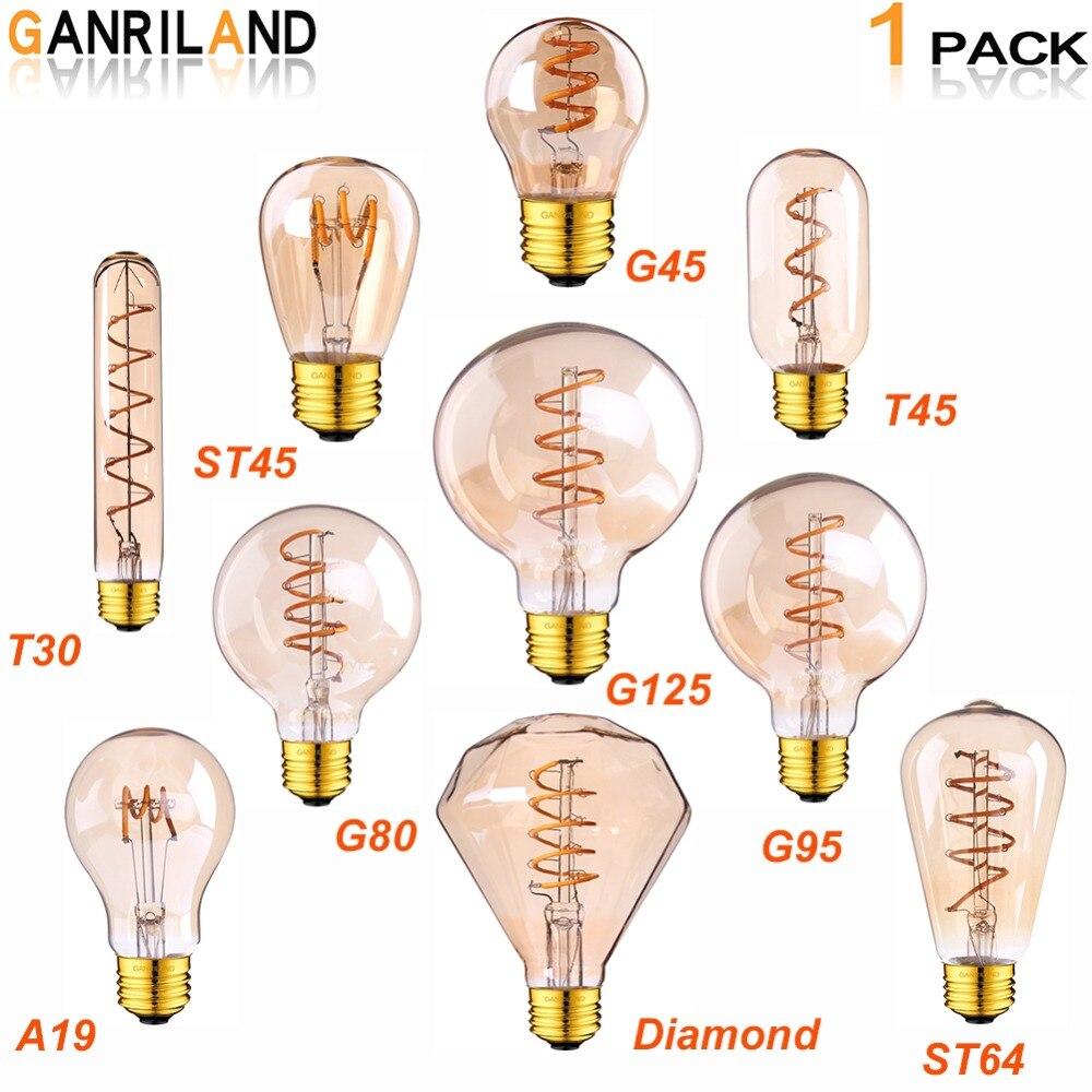 Ganriland Ретро светодиодный светильник E27 220V с регулируемой яркостью Светодиодная лампа накаливания свет 3 W 2200 K масок Diamond Gold Edison спиральные лампы G125 G80 светодиодный потолочный