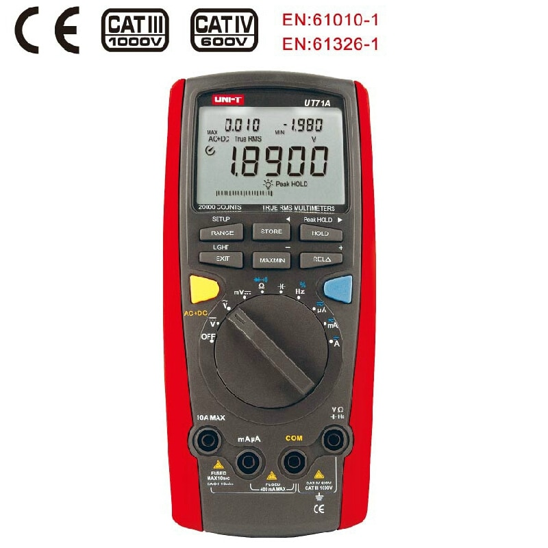 Uni t ut71 inteligente verdadeiro rms multímetro digital automático ac dc voltímetro amperímetro temperatura freq testador analógico barra interface usb