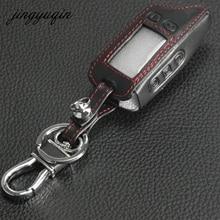 Jingyuqin novo caso chave de couro para tomahawk tw9010 tw9020/tw4000/tw701 lcd remoto chaveiro fob capa em dois sentidos sistema de alarme do carro