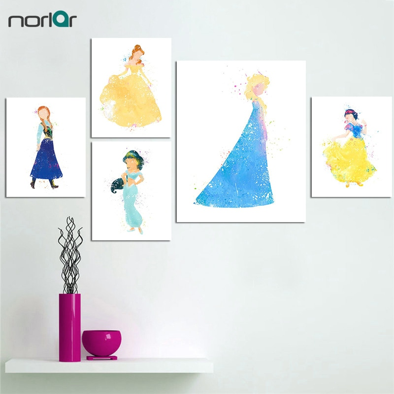 Acuarela princesa lienzo pintura Cenicienta película de dibujos animados lienzo impresión Poster chica habitación decoración sin marco