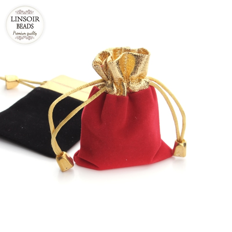 LINSOIR Wholesale 10Pcs/lot Red/Black Velvet Bag Drawstring Pouch Jewelry Packaging Storage Christmas/Wedding Gift