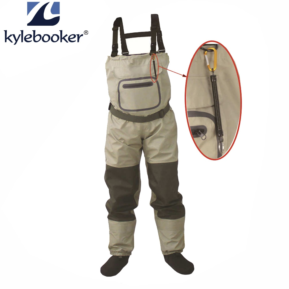high jump ultra thin 0 34mm siamese fishing waders waterproof 700d nylon pvc breathable chest height pocket belt fishing overall Fly Fishing Chest Waders Breathable Waterproof Stocking foot River Wader Pants for Men and Women