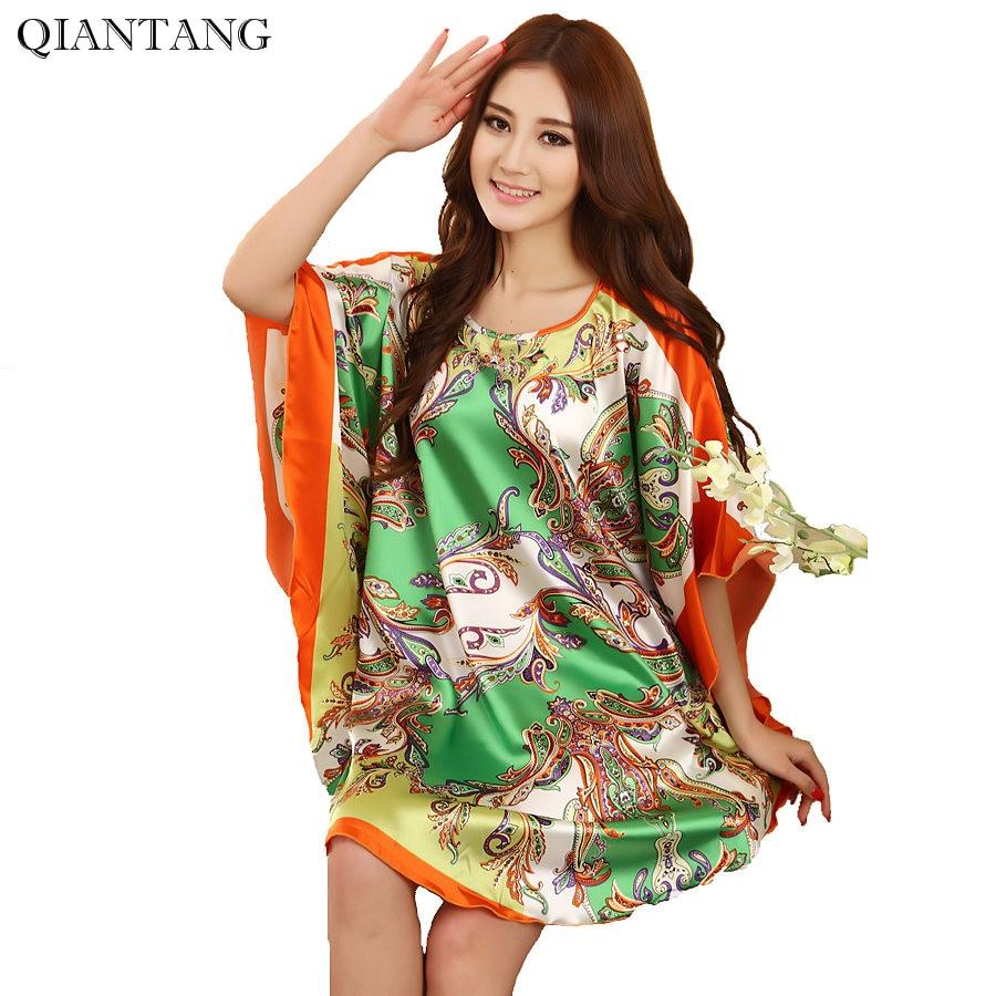 Plus Size Fashion Female Robe Bath Gown Printed Design Women Rayon Nightdress Summer Nightgown Pijama Mujer Zh789H