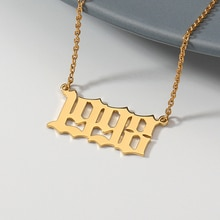 Année de naissance collier pour femmes ancien anglais Date numéro collier en acier inoxydable chaîne ras du cou bijoux personnalisés cadeaux