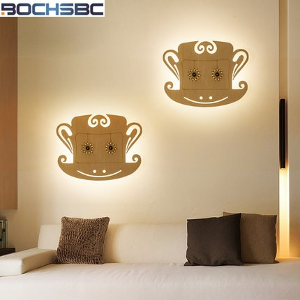 Lámpara de pared de escaleras de pasillo LED creativo dormitorio luz de pared decoración lámpara de cabecera pequeñas lámparas de pared de mono de madera