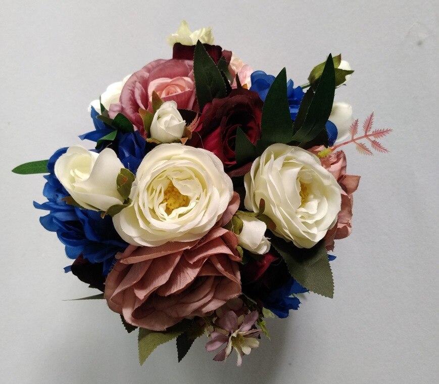 Ramo de novia de peonía, rubor de seda, flores de boda Vintage, ramo de boda Chic rústico, novia, dama de honor, boda