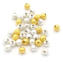 4 5 mm or SilverColor entretoise graine boule givré perles en métal pour la fabrication de bijoux perles couture bricolage accessoires en gros