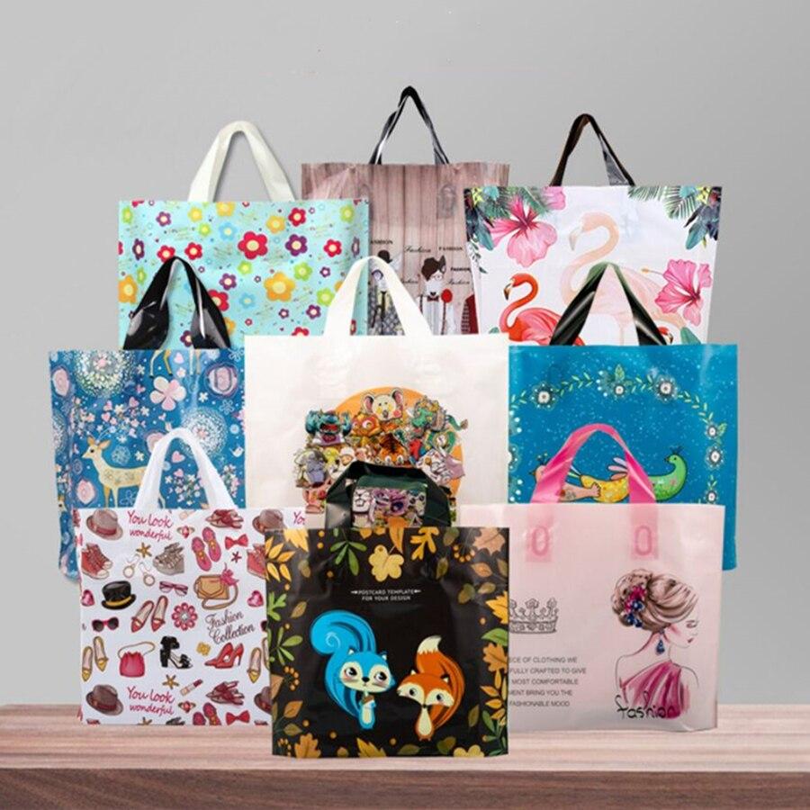 D & P 10 шт., вечерние, утолщенные, пластиковые, свадебные, с петлей на ручке, сумки для одежды, пластиковые сумки для переноски, милые, спасибо, подарок, сумки для покупок