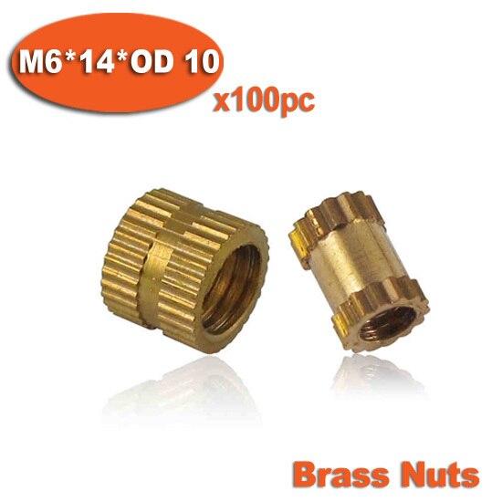 100 Uds M6 x 14mm x 10mm OD moldeo por inyección rosca moleteada de latón insertos tuercas