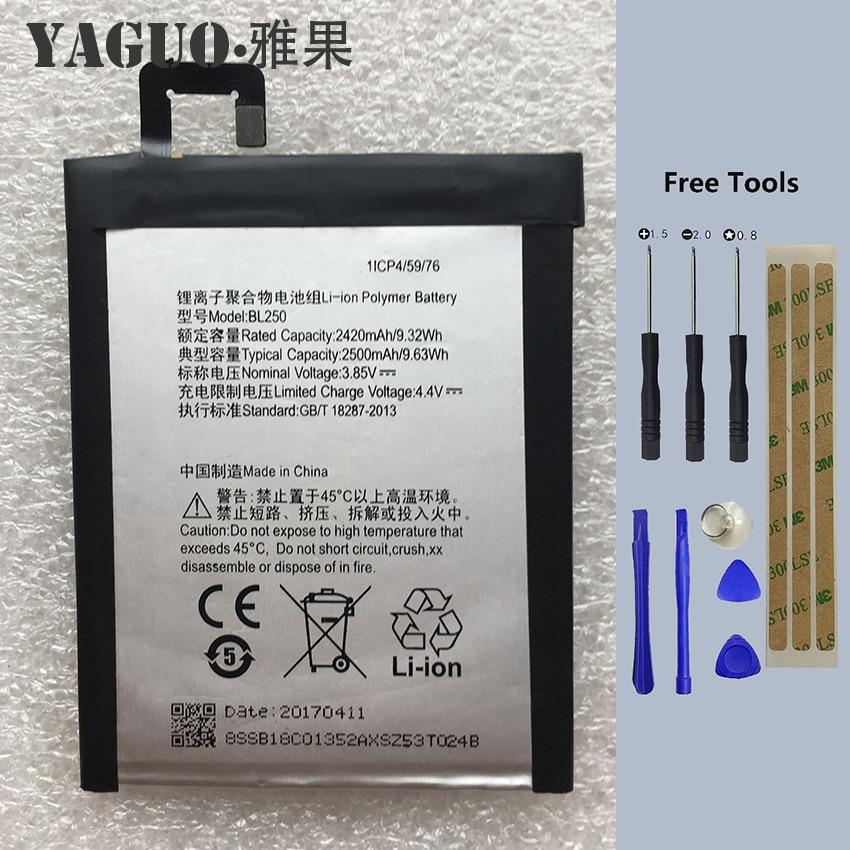 Para Lenovo 2420-2500Mah BL250 batería de ion de litio Original para Lenovo VIBE S1 S1c50 S1a40 s1 a40 S1 c50 teléfono móvil + herramientas gratis