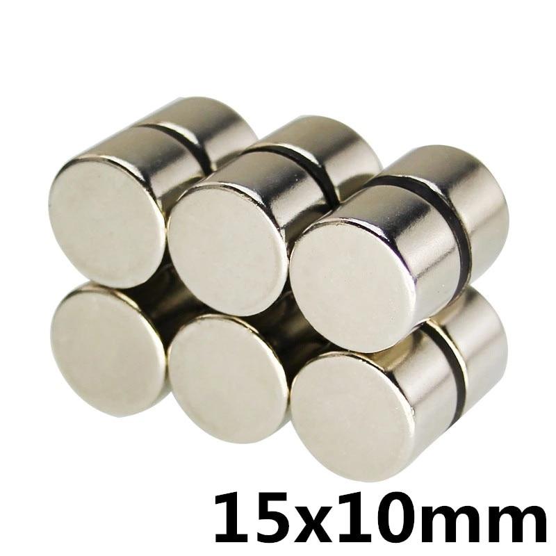 5 uds 15x10mm a granel pequeña disco de neodimio NdFeB redondo imanes Dia 15mm x 10mm x 10mm N35 Super potente imán fuerte 15*10