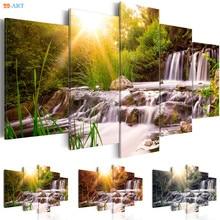 Waterfull imprime vert forêt paysage affiche toile peinture 5 pièces moderne naturel mur Art salon décor à la maison