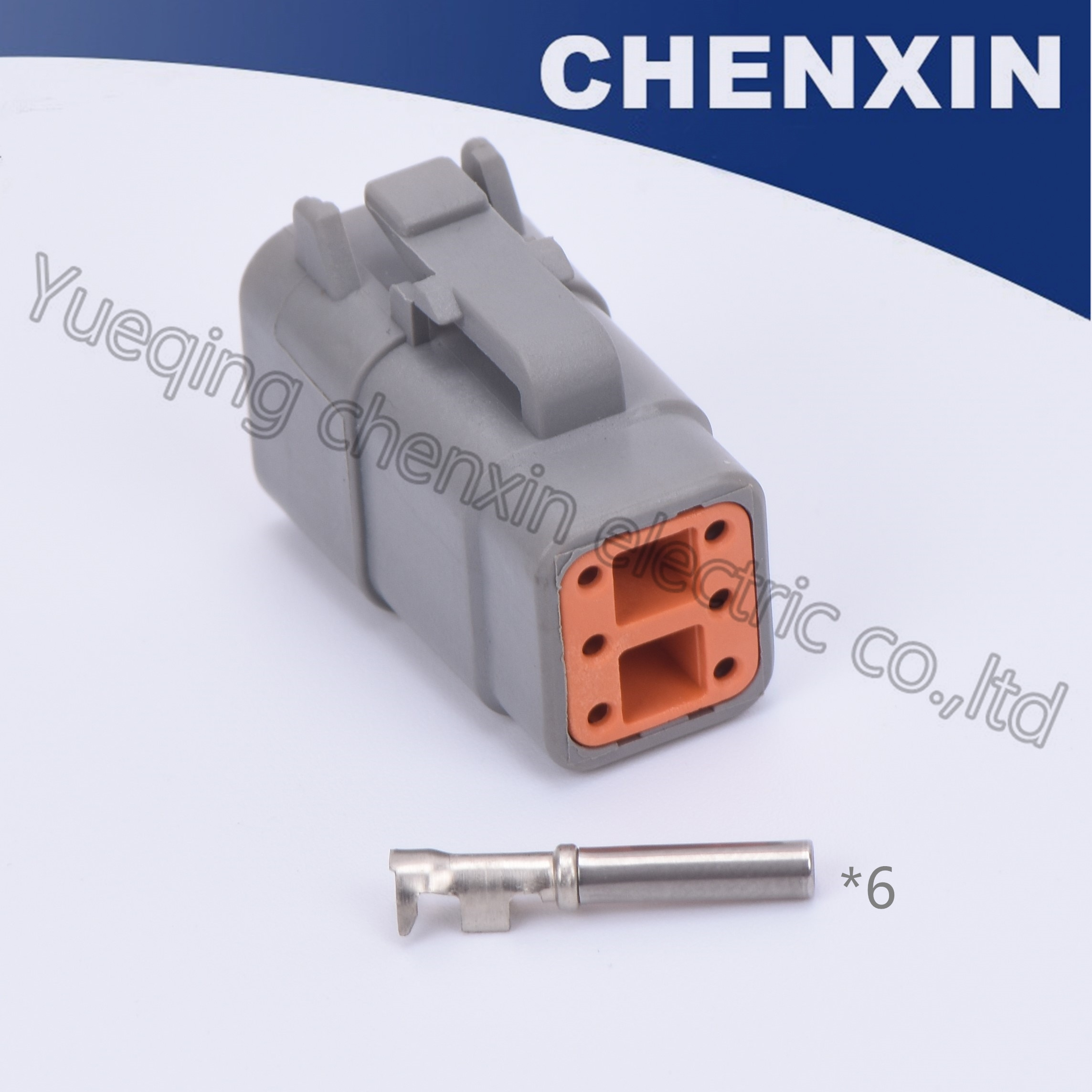 Conectores de automóvil impermeables grises de 6 pines para coche (clip naranja) Serie hembra 1,0 DTM con DTM06-6S de terminal de prensado estampado