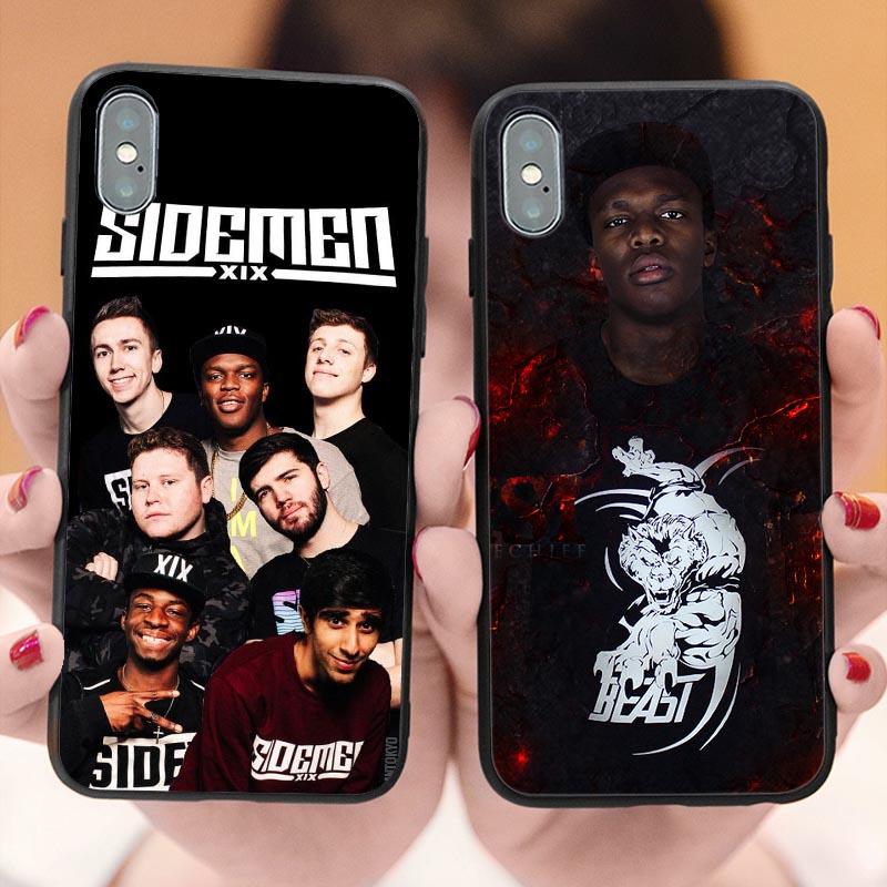 Sidemen versus ksi manter-se macio silicone tpu capa de telefone para o iphone x 5 5S se 6s plus 7 8 mais xs xr xs max luxo coque