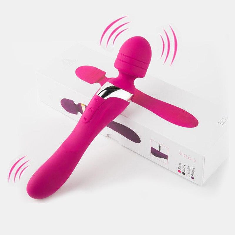 هزاز مزدوج الاهتزاز متعدد السرعات USB قابل لإعادة الشحن ، مدلك G-spot AV ، عصا محفز البظر للإناث ، ألعاب جنسية للبالغين