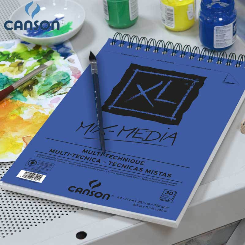 16K Canson XL Mix Media pad бумага для рисования Акварельная гуашь и акрил эскиз спиральные связанные средние зерна 300 г 25 листов