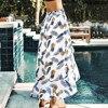 CUPSHE kobiety wzburzyć długa spódnica 2020 Boho plaża lato kobiety wysokie rozcięcie druk ananasowy Smocked Vestidos de festa