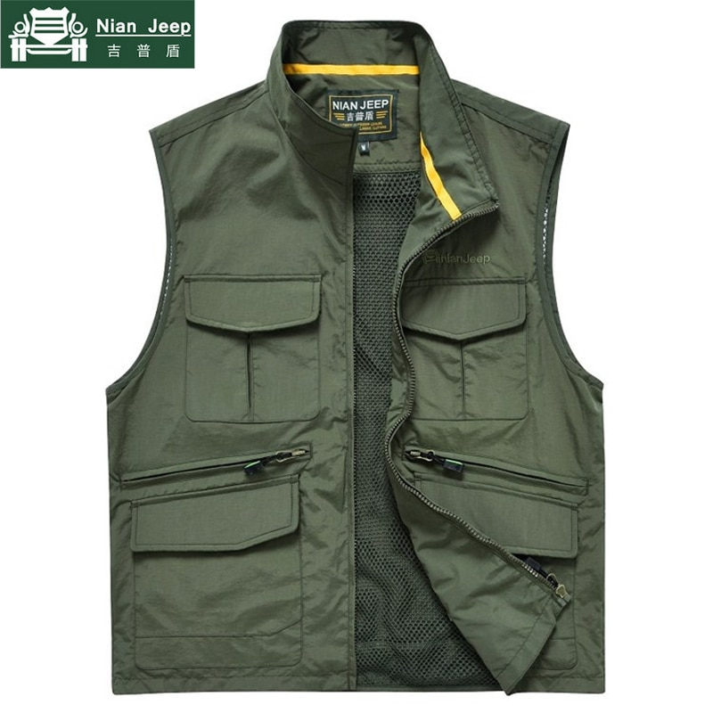 NIANJEEP 2020 New Fashion Men Casual Vest High Travel Vest Tops Multi-pockets Vest Photography Waistcoat chalecos para hombre