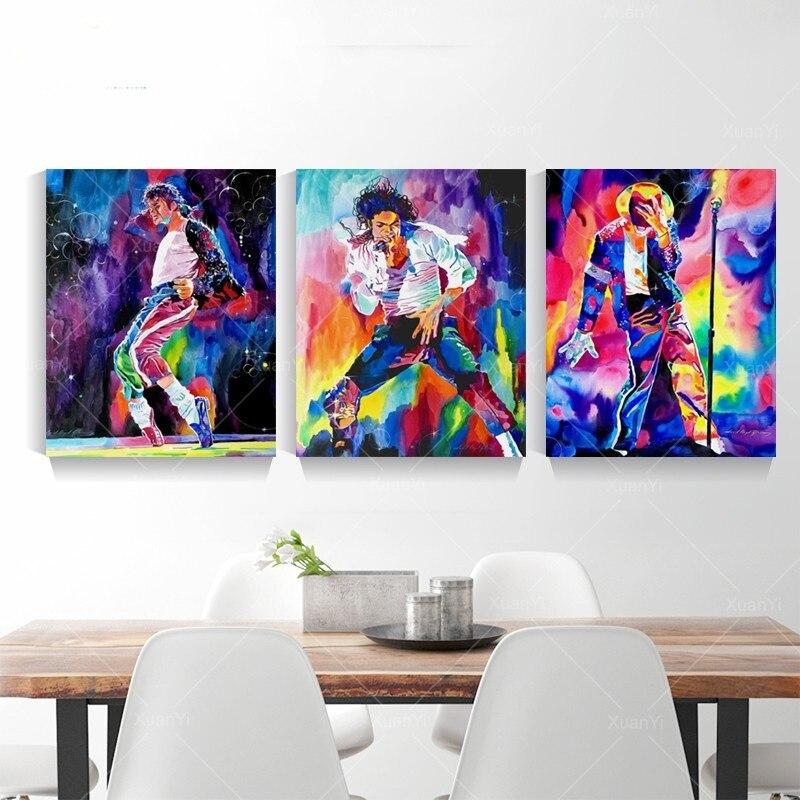 Figura astratta Pittura A Olio Famosa star Michael Jackson della Tela di Canapa Pittura Poster e Stampe Per Living Room Decor