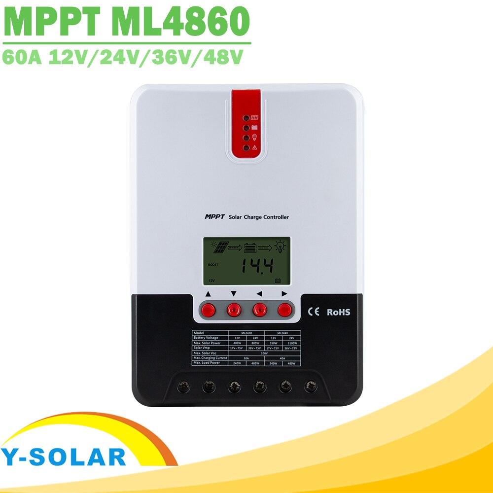 60A 12V 24V 36V 48V MPPT وحدة تحكم الشحن بالطاقة الشمسية ، وحدة تحكم مع شاشة LCD للسيارة ، بحد أقصى. إدخال الألواح الشمسية 150 فولت ML4860