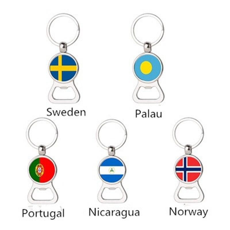 Gran oferta, llavero con llavero multifunción con bandera sueca de Palau Portugal y Noruega, accesorios de abrebotellas de cerveza de metal