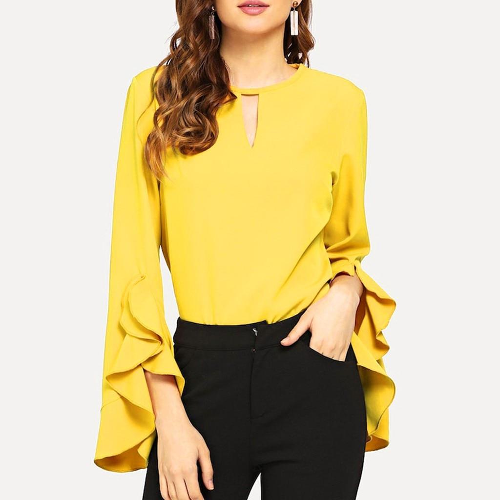 Blusa de verano para Mujer, blusas y camisas casuales de manga larga acampanada con volantes, blusas amarillas sólidas para Mujer, blusas femeninas para Mujer