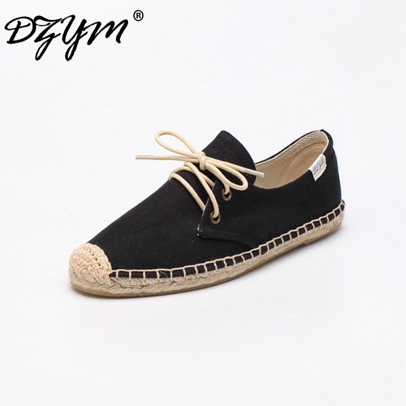 DZYM 2019 Primavera Verano alpargatas clásicas de lona de alta calidad mujeres pisos zapatillas de ocio Pure hecho a mano Zapatos de lino