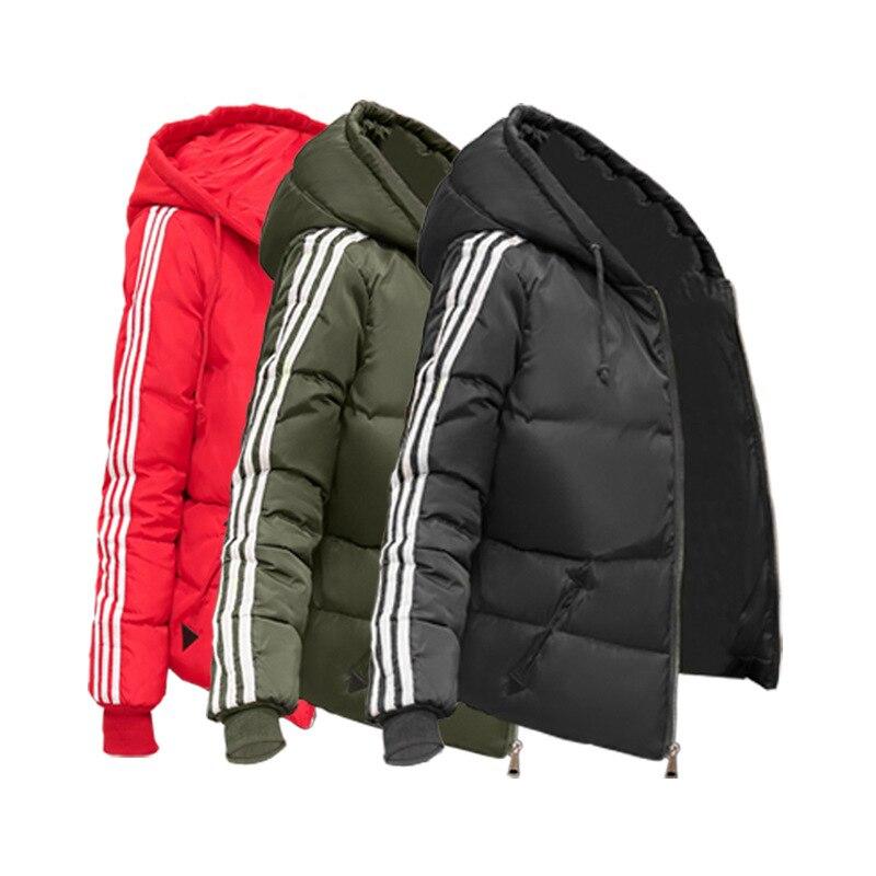 Nueva chaqueta de invierno 2020, Parkas gruesas para mujer, prendas de vestir exteriores a rayas con capucha, abrigos con cremallera, Tops básicos acolchados de algodón finos para mujer, tallas grandes