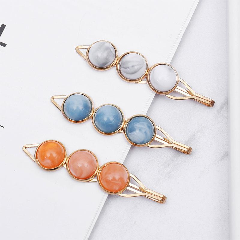 2 uds. Sujetadores para cabello con estilo coreano con cuentas de perlas horquillas Color accesorios para el cabello para mujeres pasadores para niñas BOLA DE Metal horquillas