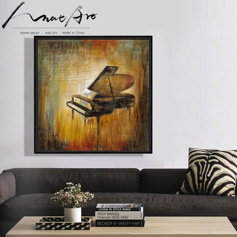 Lienzo de música de piano Retro Para decoración del hogar, pintura para...
