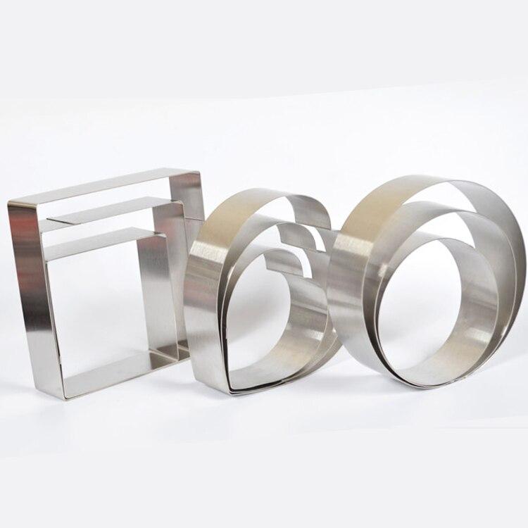 قالب كيك موس على شكل قلب/مربع/دائري ، 3 قطعة/المجموعة/تجميع ، فولاذ مقاوم للصدأ ، أدوات DIY ، 5 ''6'' 7 ''، أحجام مختلفة
