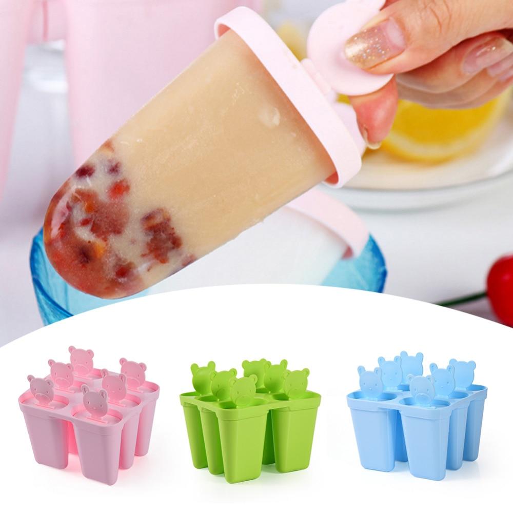 Ice Lolly Molds Maker Form DIY Cute 6 Bear Mold Popsicle Molds Yogurt Ice Box Fridge Frozen Ice Cream Tools