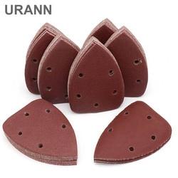 URANN 10pcs Triângulo Lixadeira Lixa Lixa Auto-adesiva Gancho Loop Disco De Lixa Ferramentas Abrasivas Para Polimento do Grão 40-400