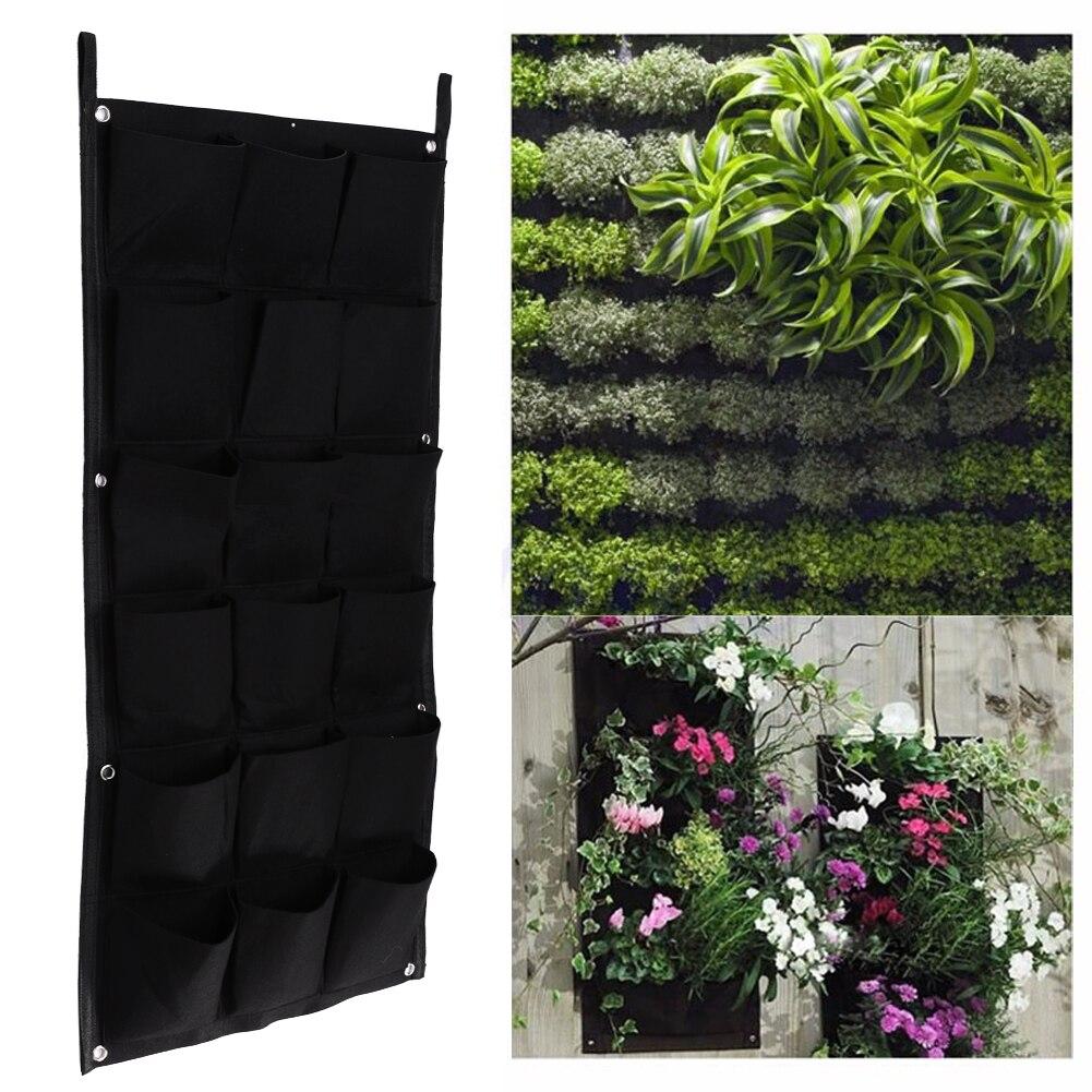 Macetas verticales de 18 bolsillos para jardín, macetas para plantas colgantes, maceta verde para pared y maceta para balcón, decoración de jardín, 50cm x 100cm