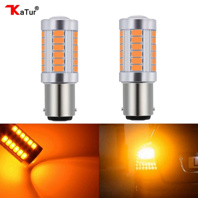 Katur 2 uds 1157 BAY15D P21/5W bombillas LED para coches freno/luces de parada ámbar/iluminación naranja blanco rojo azul 5630 33SMD lámparas Led