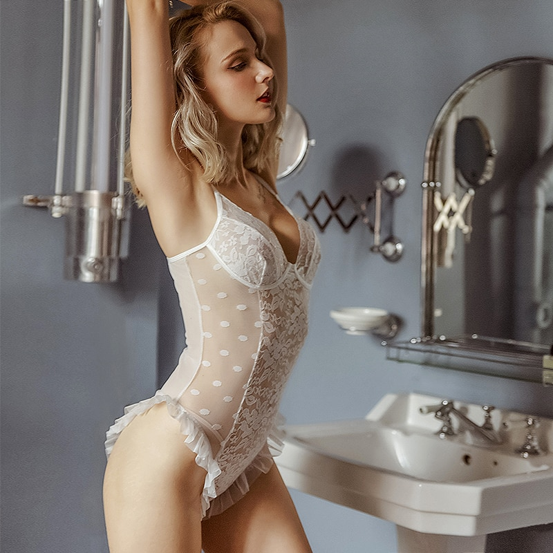Perfering 2019 Hot Koop Transparante Mesh Sexy Jumpsuit Sheer Lace Bodysuit Vrouwen Backless Catsuit Bandjes Bodysuits Thong Skinny