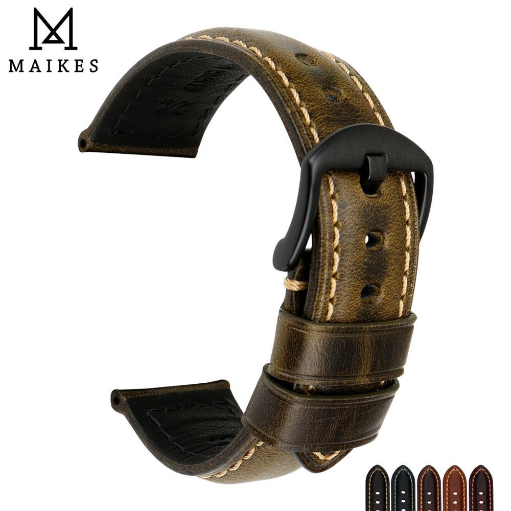 Ремешок для часов MAIKES, винтажный ремешок из вощеной кожи с пряжкой из нержавеющей стали для Chopard, 20 мм, 22 мм, 24 мм, 26 мм