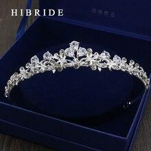 HIBRIDE High Quality CZ Tiara King Crown Wedding Hair Jewelry, Rhodium Plated Headpiece Bridal accessories HC00019