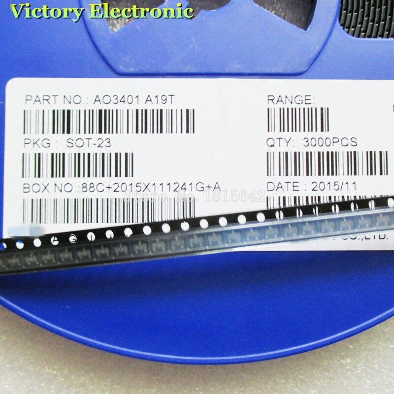 100PCS/Lot AO3401A AO3401 3401 A19T SOT-23 4.2A/30V P-channel SMD MOSFET Transistor Triode