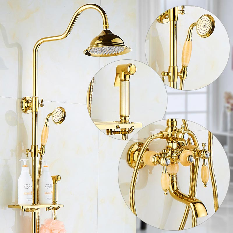 Brass and Jade Shower Faucet Luxury Brass Rain Shower Set Wall Mount Gold Bathroom Faucet With Slide Bar Bathtub Faucet bidet