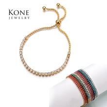 2017 Simple réglable chaîne Bracelets or couleur acier inoxydable zircon cubique Bracelet pour femmes Pulseras Mujer cadeau