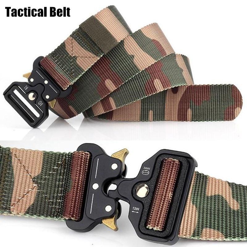 200pcs Men CS Tactical Belts Nylon Military Waist Belt+Buckle Adjustable Heavy Duty Camo Training Waistband Hunting Accessories
