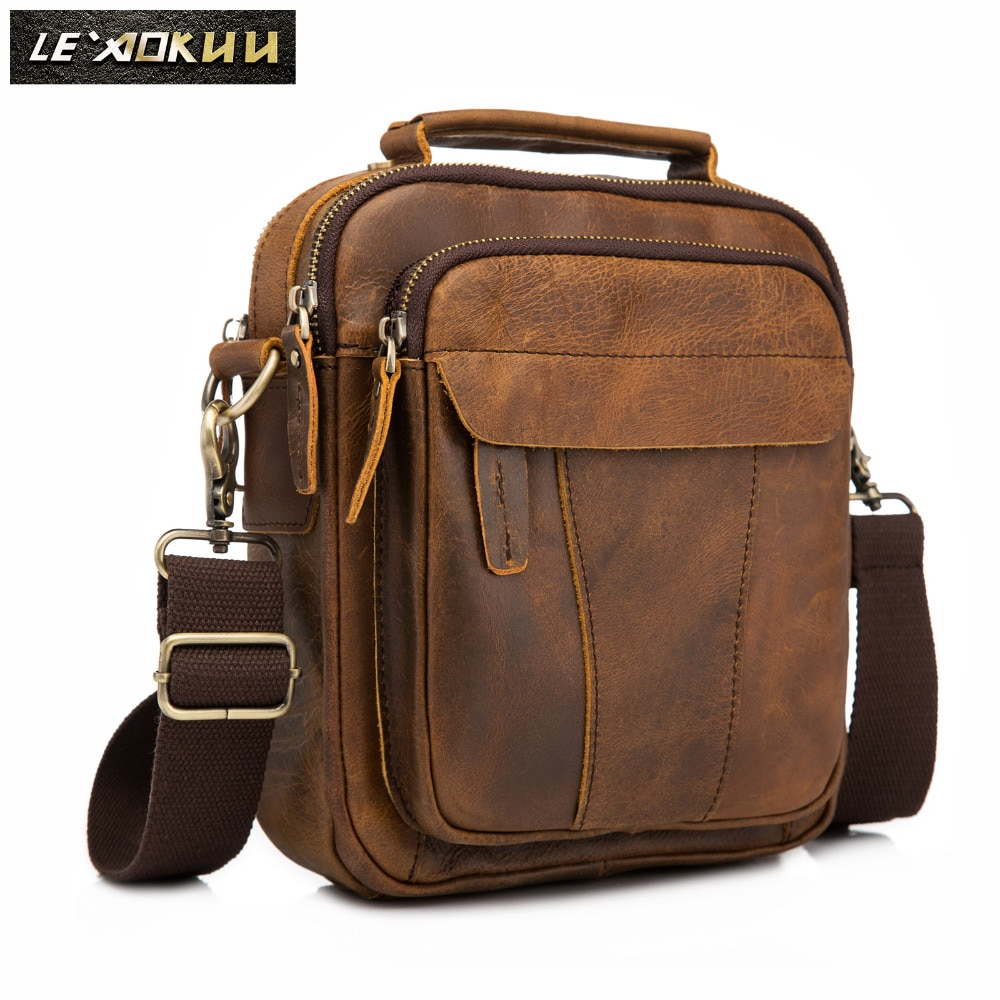 Quality Leather Male Fashion Casual Tote Messenger Mochila bag Design Satchel Crossbody Shoulder bag