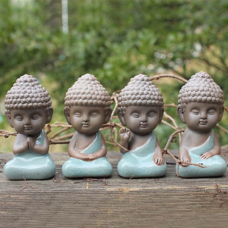Статуя Будды, статуэтка, украшение, монах, чая, для домашних животных, автомобильные аксессуары, бонсай, садовое украшение, тафагата, индийская Мандала для йоги