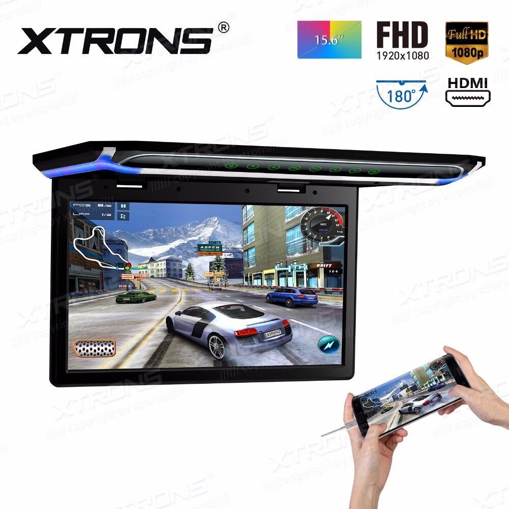 """XTRONS 15,6 """"Monitor de Video de 1080P FHD Digital pantalla TFT de pantalla ancha Ultra-delgada coche techo DVD Player HDMI"""