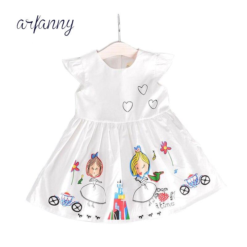 Vestido de verano de algodón puro con mangas voladoras para niñas, vestido con estampado de grafiti de 2 3 4 5 años