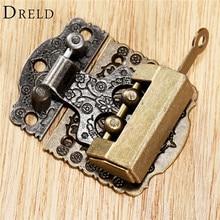 2 uds chino Hardware de latón de bronce Vintage caja de madera de gabinete de palanca LATCH HASP + chino antiguo vieja cerradura accesorios de muebles