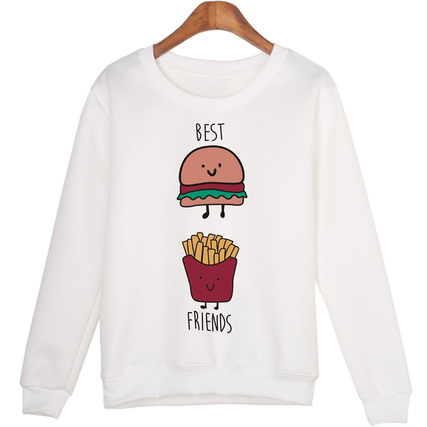 BAEKADOO Hambúrguer batatas fritas Impressão Dos Desenhos Animados Roupas Harajuku Pullovers Camisolas Sudaderas Hoodies Topo