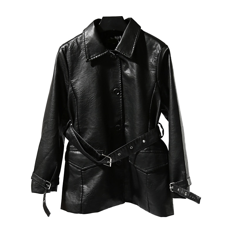 2020 Formal Full New Promotion Jaqueta Couro Leather Jacket Women's Long Pu Loose Wild Temperament Buckle Windbreaker Female enlarge