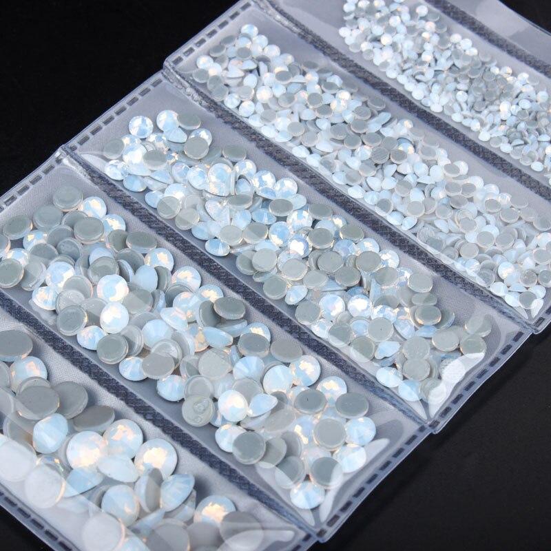NOVA Moda! Mix tamanho SS6-SS30 1000 pçs branco opala alta qualidade hotfix strass aaa cristal e pedra para roupas frete grátis